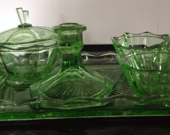 Art Deco 5 Piece Green Glass Dressing Table Set