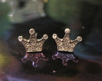 Silver Crown Earrings - Stud Earrings - Rhinestone Silver 3 Prong Crown Earrings - Crown Earrings - Princess Jewelry
