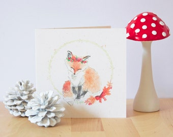 Postcard - A litte Fox & his flower crown - Stationery - Illustration / Watercolor - Winter / Christmas / Autumn - Woodland / Forest animal