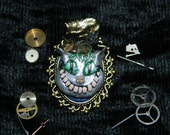 Steampunk Cheshire Cat in Top Hat Brooch