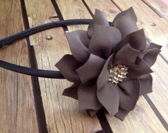 Grey headband, flower headband, floral headband, flower girl headband, flower girl, vintage headband, rhinestone headband, satin headband,