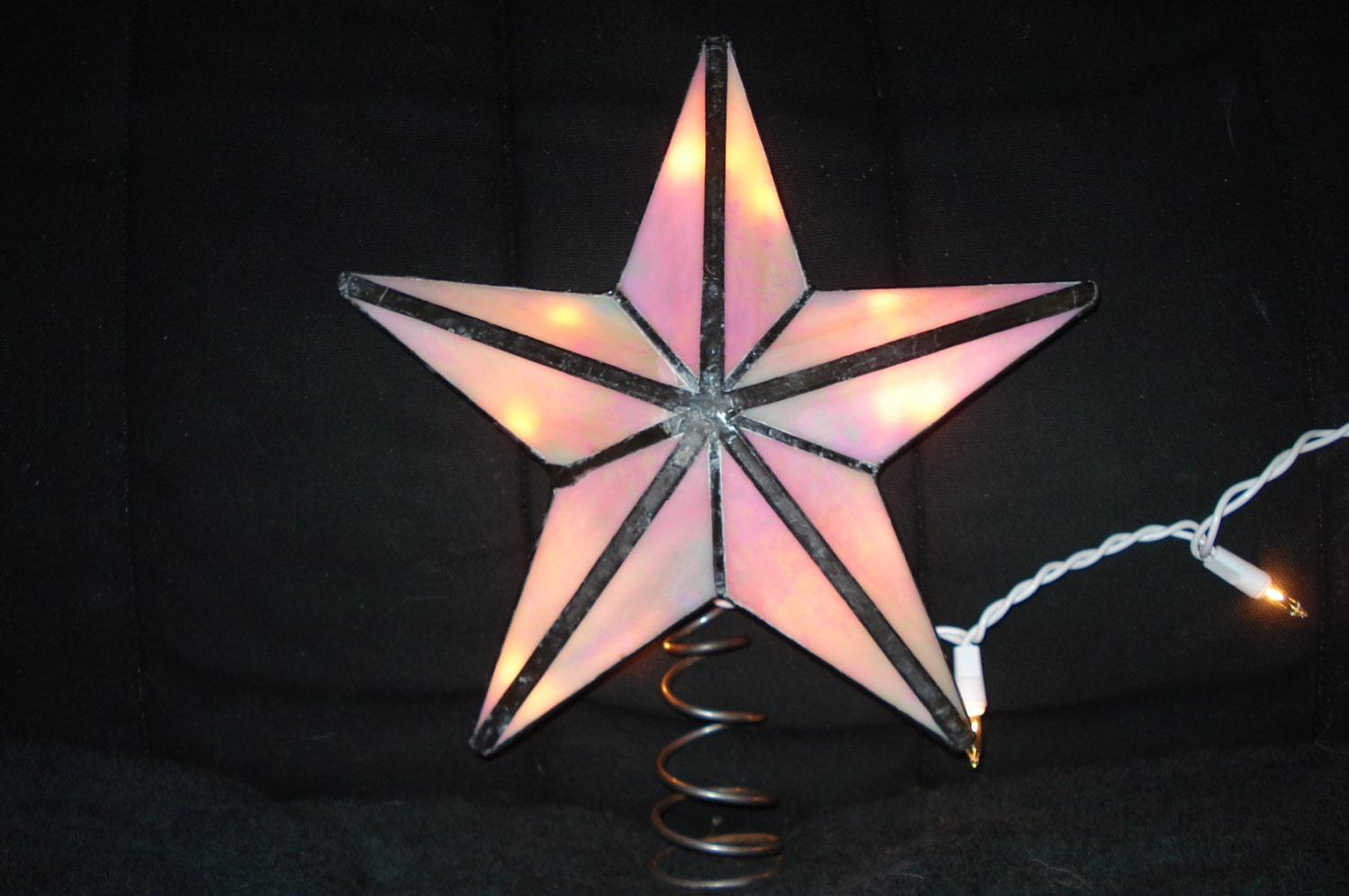 Stained glass christmas tree topper star