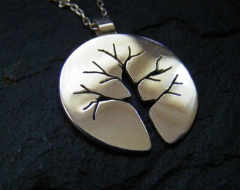 Stering silver tree necklace Silver Pendant Autumn tree branches