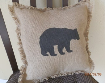 "Burlap Fringed Pillow with Stenciled Black Bear 12"" x 12"""
