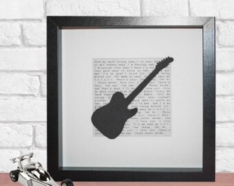 Personalised song lyric framed 3D paper electric guitar, perfect for Christmas