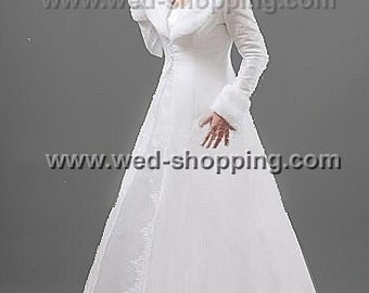 Bridal Coat Taffeta Fur Collar Cuffs - Matched Full Length Wedding Long Coat E1210