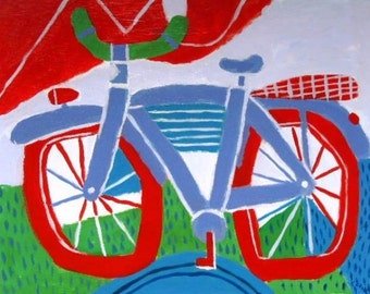 Red and Blue bike painting