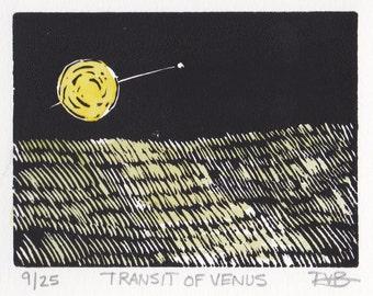 Transit of Venus: Hand Pulled Linoleum Block Print