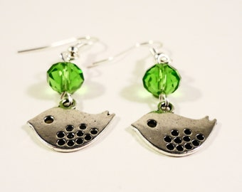 Silver Bird Earrings, Green Crystal Earrings, Dangle Earrings, Metal Charm Earrings, Beadwork Earrings, Beaded Earrings, Costume Jewelry