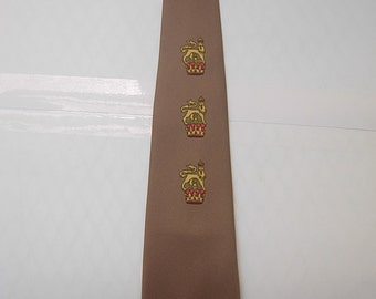 Cool 1950s His Majesty Bronze Rockabilly Silk Tie with Crowns
