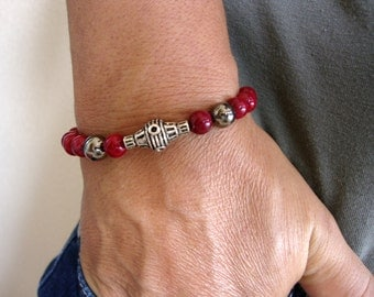 Red Bracelet, Men bracelet, Men's beaded bracelet, Mens Bracelet. Men Gemstone Bracelet. gemstone men bracelet, Red Coral. 8 MM Stone
