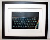 Framed Retro 8-bit ZX Spectrum Keyboard Ideal Gift for Nostalgic Geek (black frame)