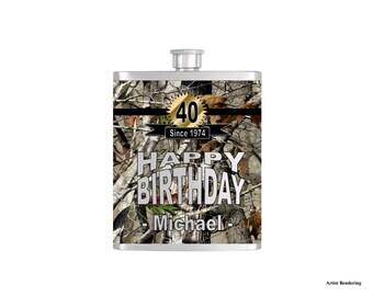 Mens Camoflauge Birthday Flask By Bottoms Up Flasks  - Stainless Steel 8 oz Liquor Hip Flasks - Flask #311