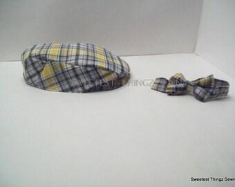 Handmade Hat/Boys Plaid Hat and Bowtie Set/ Reversible Hat Set/ Newsboy Hat/Bowtie set/ Drivers style hat