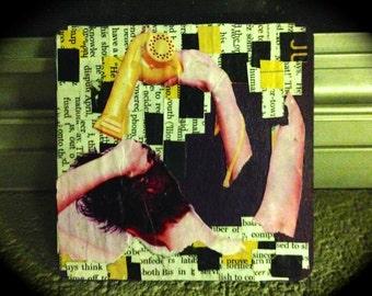 Mod Podge Collage - Girl Drying Hair