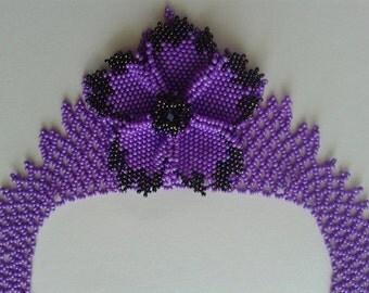 Violet necklace-pearl necklace-beadwork-handmade necklace-pearl flower necklace-violet flower