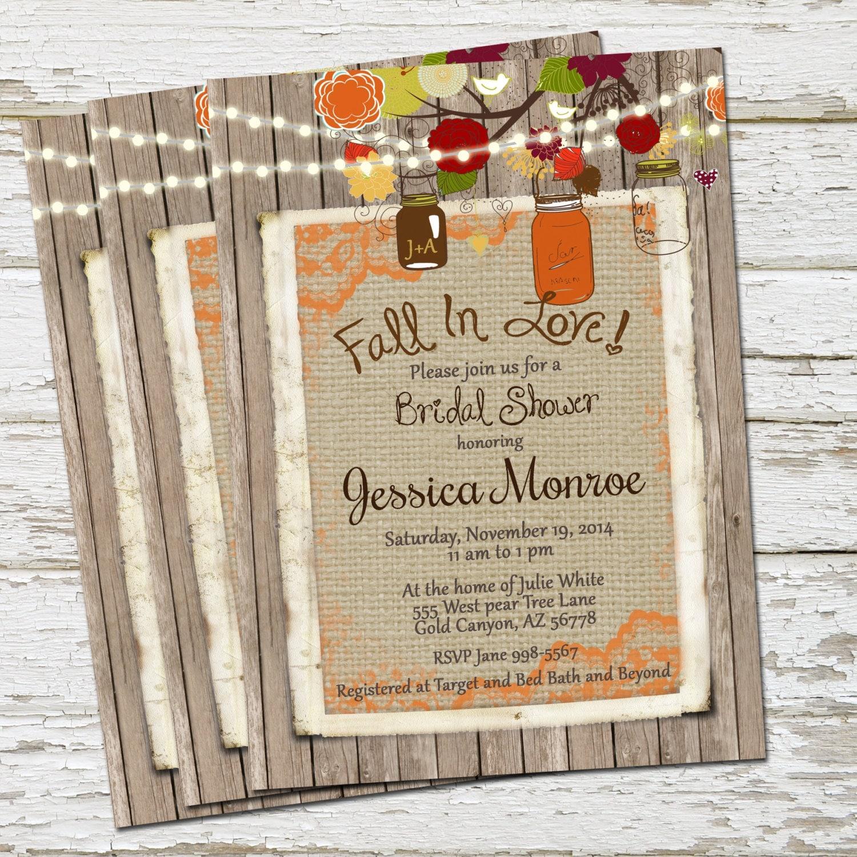 Fall Rustic Bridal Shower Invitation Burlap By