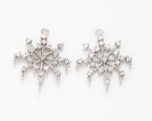 Snow Flower Cubic Connector, jewelry Supplies, jewelry Making,  Polished Rhodium- Plated - 1 Pieces [C0278-PR]