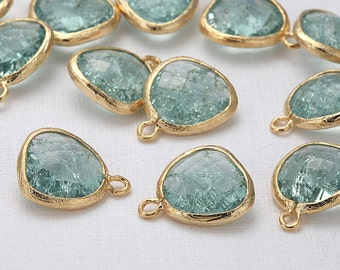 BULK(30%) - Erinite Glass Pendant(Cracked) jewelry making /beads / supplies for necklaces Polished Gold-Plated - 20 Pieces [G0001R-PGEN]
