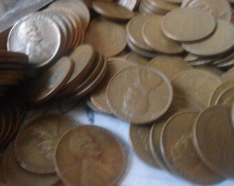 One pound of Wheat Pennies  : Lincoln Head pennies, Copper pennies, Vintage Collectable Coins, Old Coin Collection