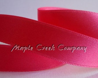 "Shocking Pink Double Face Satin Ribbon, 5 Widths Available: 1-1/2"", 7/8"", 5/8"", 3/8"", 1/4"""