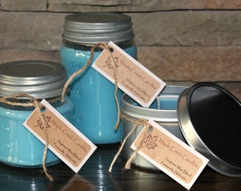 In BETWEEN MY SHEETS Maple Creek Candles ~ Fresh & Clean ~ Soy Wax Blend,  3 sizes, Fun Rustic Jar Lid