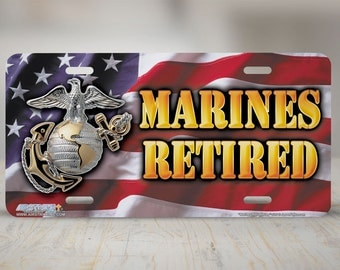 """525-""""Marines Retired"""" Marine front license plate, Marines car license plate, USMC license plate, cute license plate, front car tag, auto tag"""