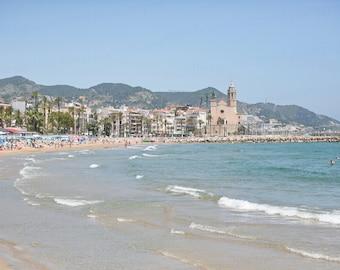 Sitges Spain Photo, Spain Ocean Photography, Spain Travel Photography,  Sitges Beach Photo, 8X10 Photo Print