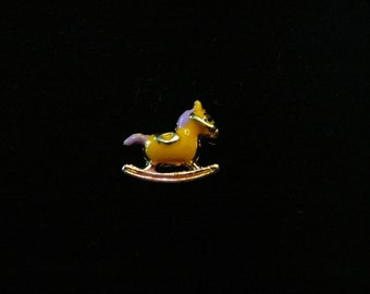 Yellow and Gold Rocking Horse floating charm fits Origami Owl lockets