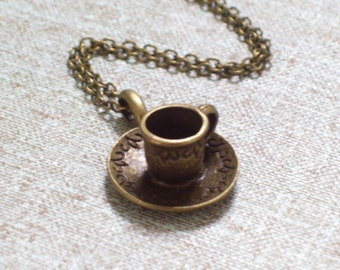 Antiqued Brass Coffee or Tea Cup Charm Pendant Necklace, 3D Bronze Charm, Brass Plated Chain
