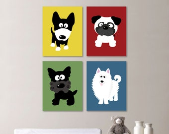 Baby Boy Nursery Print Art - Dog Nursery Decor - Kids Wall Art - Puppy Nursery Decor - Nursery (NS-469)
