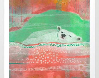 Polar Bear Print, Unique Contemporary Art Print, Alaskan Art