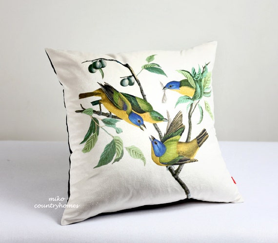 Throw Pillow Cover Vintage Bird Print by MikoCountryHomes