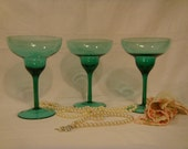 Green Glasses, Handblown Green Margarita Glasses, Collectable Green Glasses, Vintage Green Glasses, Glasses for Entertaining