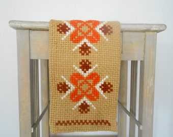 Vintage Swedish table runner Geometric runner Brown orange embroidered runner Cross stitched runner