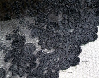 Black Venice Lace Cotton Floral Lolita Embroidery Lace Trim DIY Handmade Accessory 8.26 inches wide.  E1122
