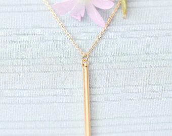 Gold or Rhodium Plated, Simple Round Bar Pendant Charm, Color is Your Choice, Necklace