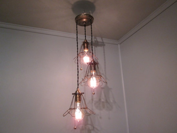 industrial light 3 pendant drop light with trouble cages. Black Bedroom Furniture Sets. Home Design Ideas