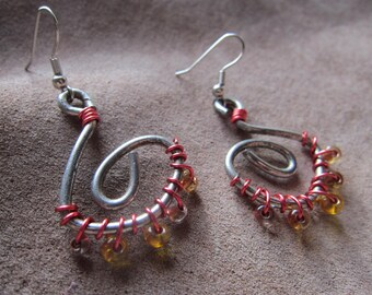 Ancient Spirit Spiral Red-Wrapped Earrings