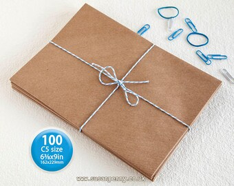 "Kraft Envelopes, 100pk, C5 Brown Ribbed Envelopes, 6 3/8"" x 9"" Envelopes, Kraft Paper Envelopes C5  - PSS014"