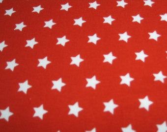 White Stars on Red by Stenzo Premium Euro Cotton Jersey Knit 5507