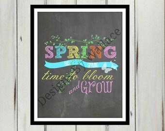 Spring Has Sprung 8x10 Instant Download, Spring Printable, Spring Home Decor,Spring Chalkboard Printable