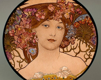 Mucha, Rêverie, Mucha kilnfired glass roundel, Mucha stained glass, Mucha suncatcher, Mucha kilnfired stained glass, Mucha, Mucha vitrail