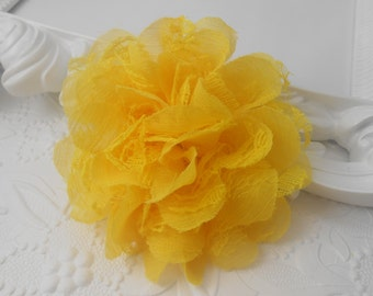 """Yellow Frayed  Lace chiffon flower,LC1, mesh,approx. 3.5""""  or 9 cm in diameter , use in DIY craft for baby,children accessories"""