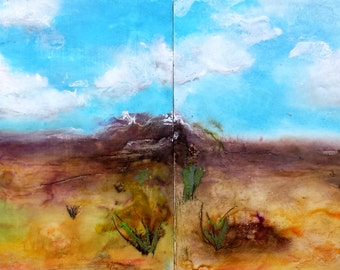 """Encaustic Landscape Abstract Diptych 8"""" x 16"""""""