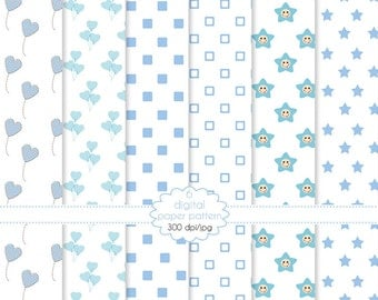 Paper baby boy new born collection-set of paper for scrapbooking
