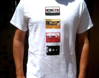 Heavy cotton white men's t-shirt with retro cassette tape illustration