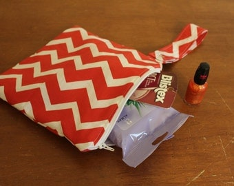 SMALL Chevron Wet bag-Eco friendly,cosmetics/toiletries/diapers/wipes