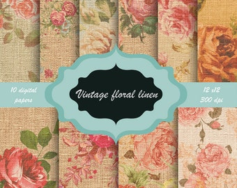 Vintage floral linen texture Digital Paper Pack -  flower pattern background for scrapbooking, wedding invitations - Shabby linen texture