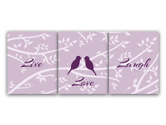 Home Decor Live Laugh Love Purple Bedroom Wall Art Modern Love